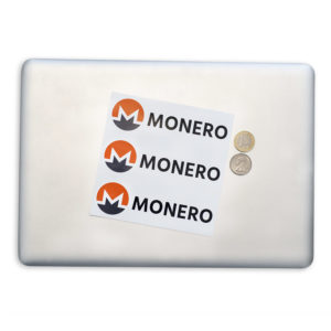 Monero Sticker with Logo and Text on Laptop Case