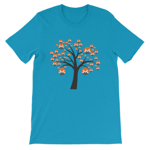 Aqua colored Monero tree cotton t-shirt