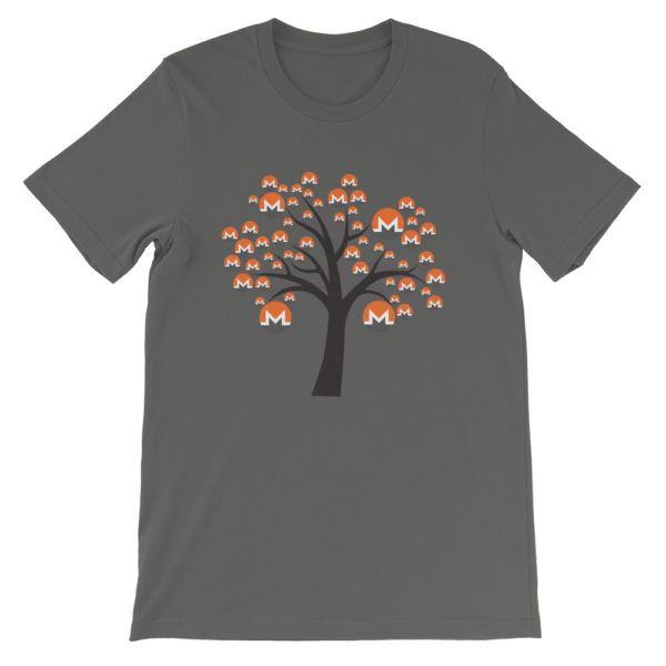 Asphalt colored Monero tree cotton t-shirt
