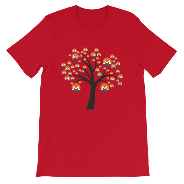 Red colored Monero tree cotton t-shirt