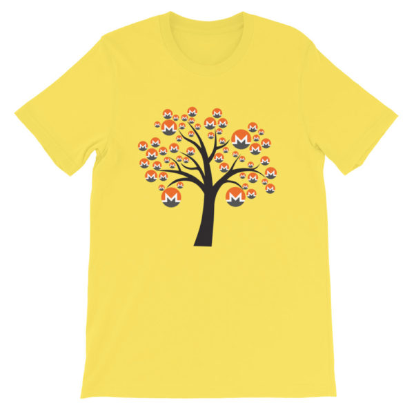 Yellow colored Monero tree cotton t-shirt