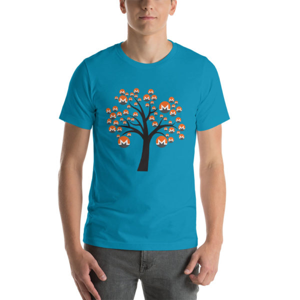 Aqua cotton t-shirt with a Monero logo tree design on it.
