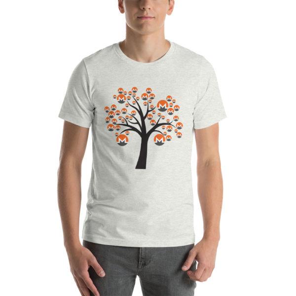 Ash cotton t-shirt with a Monero logo tree design on it.