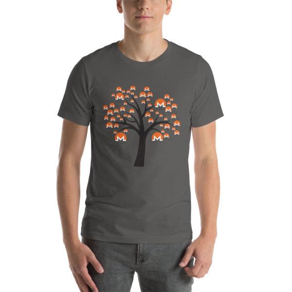Asphalt cotton t-shirt with a Monero logo tree design on it.