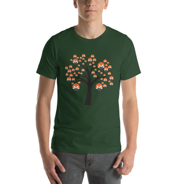 Forest cotton t-shirt with a Monero logo tree design on it.