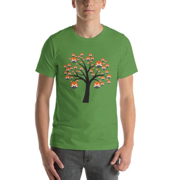 Leaf cotton t-shirt with a Monero logo tree design on it.