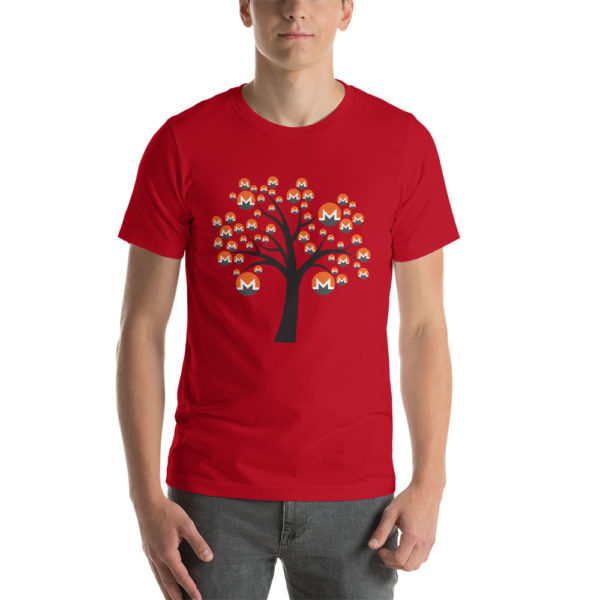 Red cotton t-shirt with a Monero logo tree design on it.