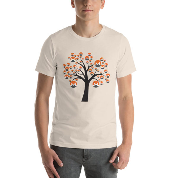Soft cream cotton t-shirt with a Monero logo tree design on it.