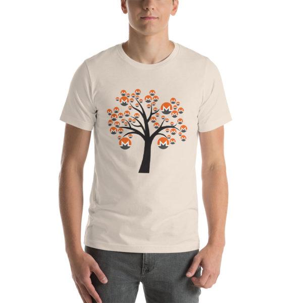 Soft cream cotton t-shirt with a Monero logo tree design on it.