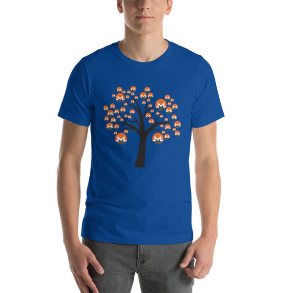 True royal cotton t-shirt with a Monero logo tree design on it.