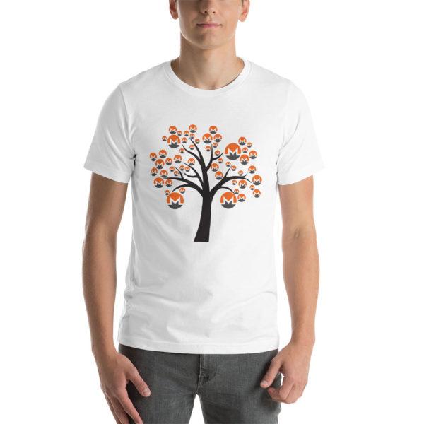 White cotton t-shirt with a Monero logo tree design on it.