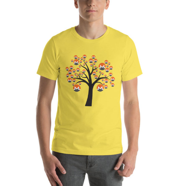 Yellow cotton t-shirt with a Monero logo tree design on it.