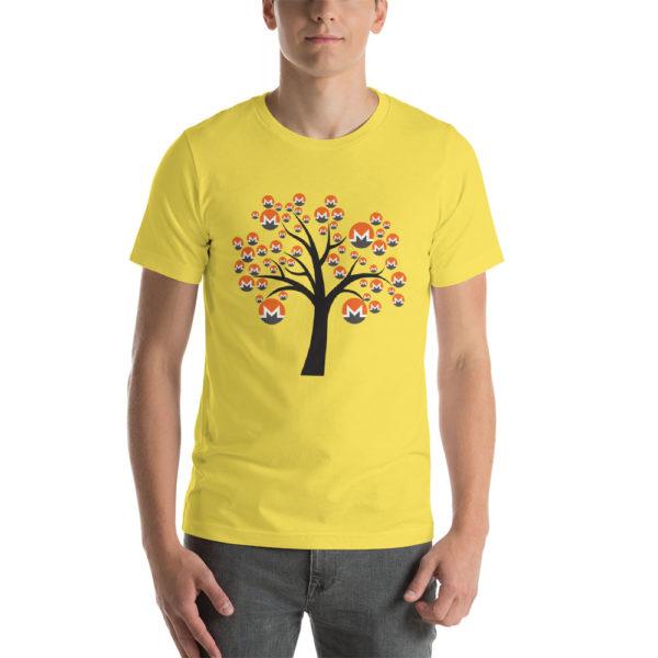 Yellow cotton t-shirt with a Monero logo tree design on it.